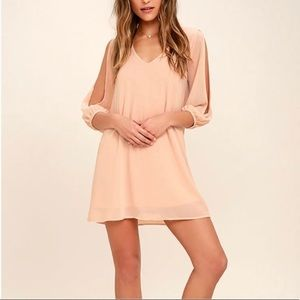 Lulu's Blush Pink Shifting Dears Mini Dress S